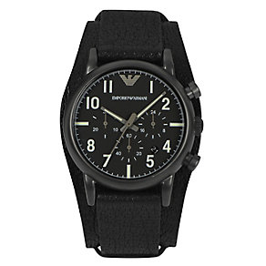 Emporio Armani men's black ion-plated cuff watch - Product number 2219670