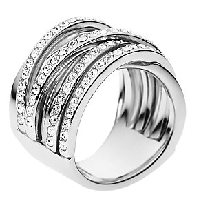DKNY stainless steel stone set woven ring size P - Product number 2219859