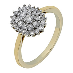 9ct Yellow Gold Oval Shaped Diamond Cluster Ring - Product number 2219867