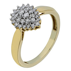 9ct Yellow Gold 1/3 Carat Tear Shaped Diamond Cluster Ring - Product number 2219999