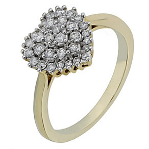 9ct Yellow Gold Heart Shaped 1/3 Carat Diamond Cluster Ring - Product number 2220113