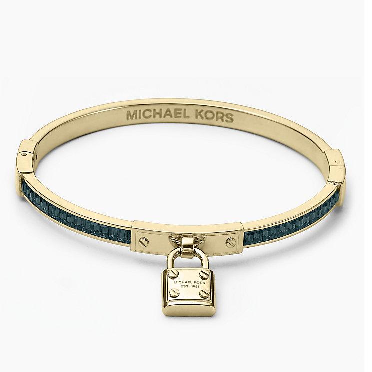 Michael Kors Gold Tone Blue Stone Set Padlock Bangle - Product number 2220245