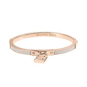 Michael Kors rose gold-plated pave stone set padlock bangle - Product number 2220261