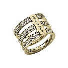 Michael Kors gold plated stone set triple bar ring size O - Product number 2220334