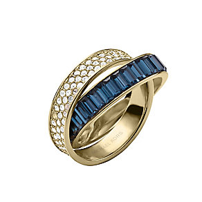 Michael Kors gold-plated stone set blue crossover ring - Product number 2220458