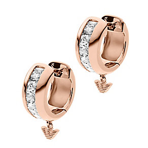 Emporio Armani rose gold-plated stone set drop earrings - Product number 2220563