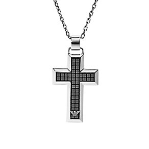 Emporio Armani men's stainless steel waffle cross necklace - Product number 2220598