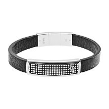 Emporio Armani Stainless Steel Waffle Leather Id Bracelet - Product number 2220601