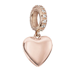 Chamilia Rose Gold & Swarovski Zirconia Hanging Heart Bead - Product number 2220857