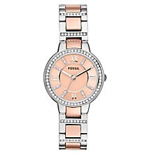 Fossil Virginia ladies' two colour stone set bracelet watch - Product number 2221349