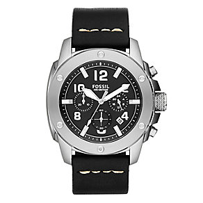 Fossil men's chronograph black leather strap watch - Product number 2221365