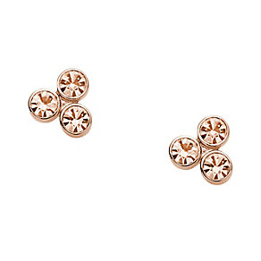 Fossil rose gold tone 3 crystal glitz dot stud earrings - Product number 2221578