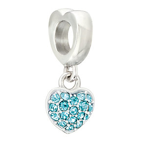 Chamilia silver & turquoise Swarovski crystal heart charm - Product number 2225816