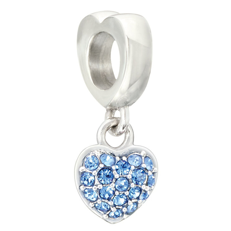 Chamilia silver & blue Swarovski crystal heart charm - Product number 2225824