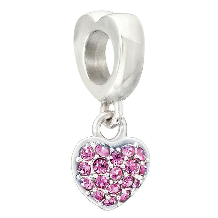 Chamilia silver & fushcia Swarovski crystal heart charm - Product number 2225840