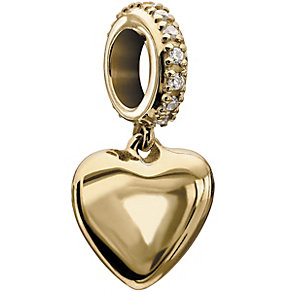 Chamilia 10ct gold & Swarovski cubic zirconia heart charm - Product number 2226928