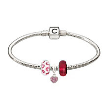 Chamilia silver bracelet & three pink bead starter set - Product number 2227061