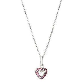 Sterling Silver Pink Crystal Heart Pendant - Product number 2227258