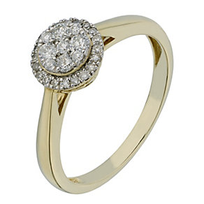 9ct Yellow Gold 1/4 Carat Round Diamond Cluster Ring - Product number 2227266