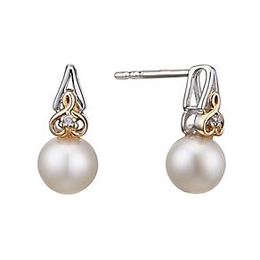 Sterling Silver & 9ct Gold Pearl & Diamond Stud Earrings - Product number 2227398