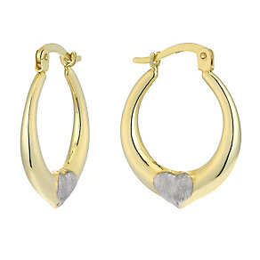 Together Bonded Silver & 9ct Gold Heart Creole Earrings - Product number 2227819