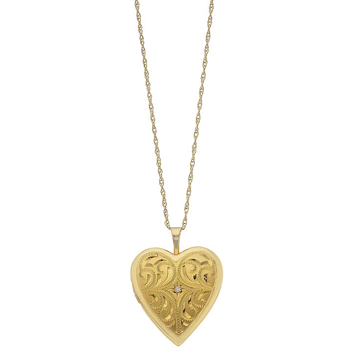 Together Bonded Silver & 9ct Gold Diamond Heart Locket - Product number 2227851