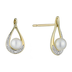 9ct Yellow Gold Pearl and Diamond Earrings - Product number 2227916