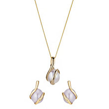9ct Yellow Gold Freshwater Pearl Earring And Pendant Set - Product number 2227932