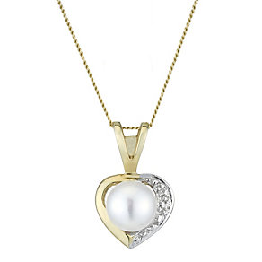 9ct Yellow Gold Pearl And Diamond Heart Pendant - Product number 2227940