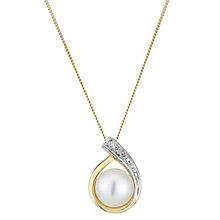 9ct Yellow Gold Pearl And Diamond Teardrop Pendant - Product number 2227959