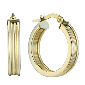 9ct yellow gold 15mm groove creole hoop earrings - Product number 2230038