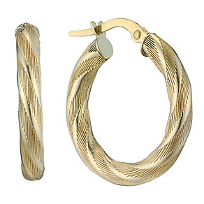 9ct yellow gold twist creole hoop earrings - Product number 2231492
