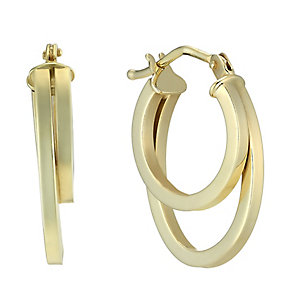 9ct yellow gold double creole hoop earrings - Product number 2231557