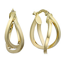 9ct yellow gold 15mm double creole hoop earrings - Product number 2231573