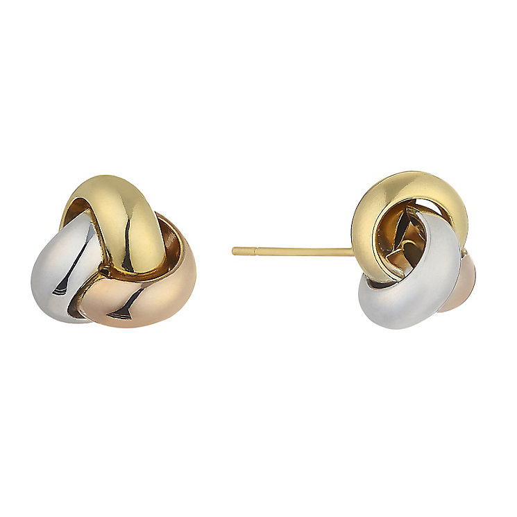9ct gold three colour knot stud earrings - Product number 2231646