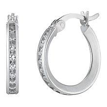9ct white gold cubiz zirconia creole hoop earrings - Product number 2231727