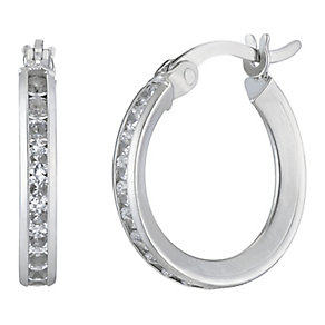 9ct white gold cubiz zirconia creole hoop earrings - Product number 2231727