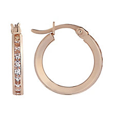 9ct rose gold cubic zirconia creole hoop earrings - Product number 2231735
