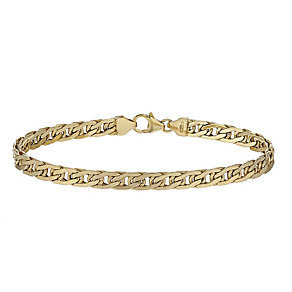 9ct yellow gold wide double curb bracelet - Product number 2231891
