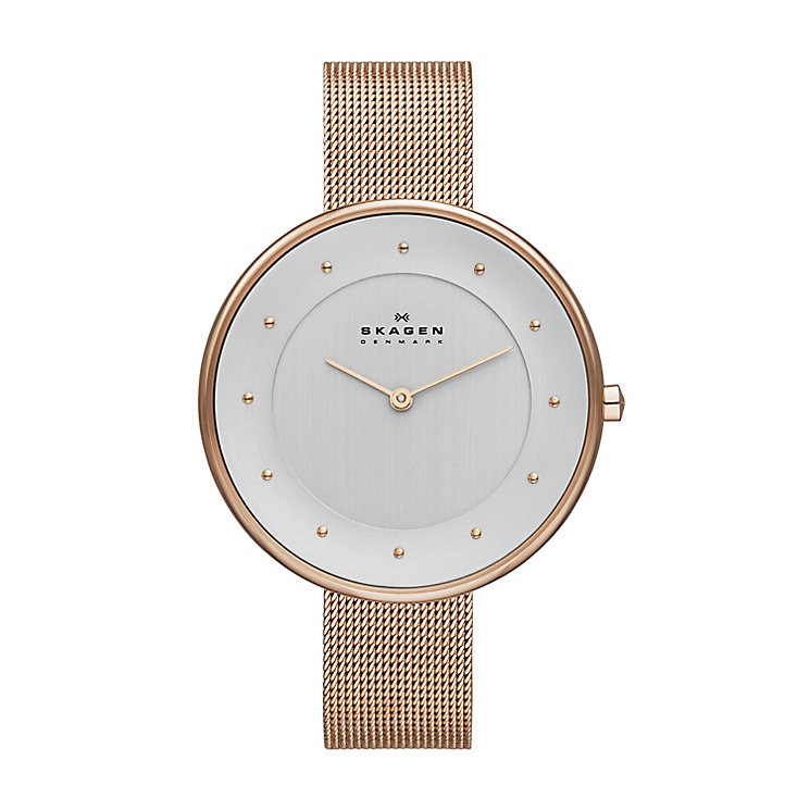 Skagen Gitten Ladies' Rose Gold Tone Mesh Bracelet Watch - Product number 2232022