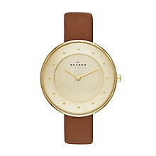 Skagen Ladies' Gold Tone Tan Leather Strap Watch - Product number 2232030