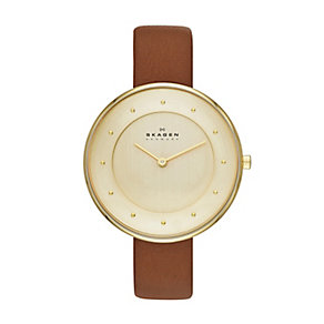 Skagen ladies' gold-plated mesh bracelet watch - Product number 2232030