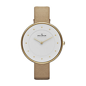 Skagen ladies' rose gold-plated nude leather strap watch - Product number 2232049