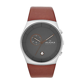 Skagen men's stainless steel brown leather strap watch - Product number 2232073