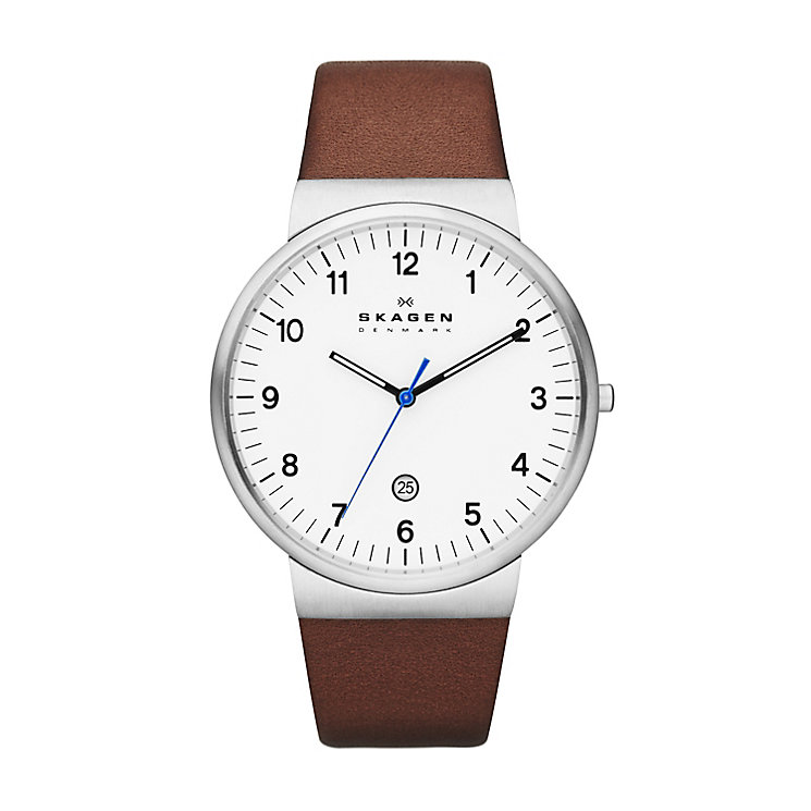 Skagen Ancher Men's Stainless Steel Leather Strap Watch - Product number 2232081
