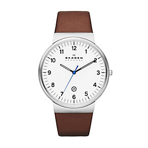 Skagen men's stainless steel brown leather strap watch - Product number 2232081