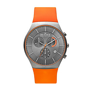 Skagen men's stainless steel orange rubber strap watch - Product number 2232111