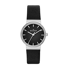 Skagen Ancher Ladies' Stone Set Black Leather Strap Watch - Product number 2232154