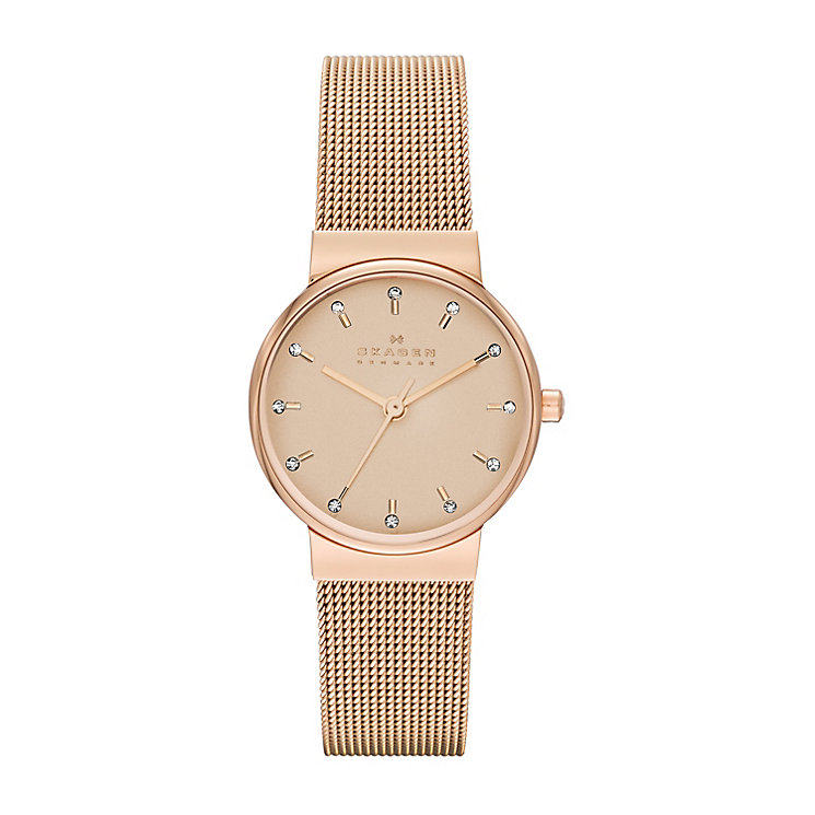 Skagen Ladies' Rose Gold Tone Mesh Bracelet Watch - Product number 2232170