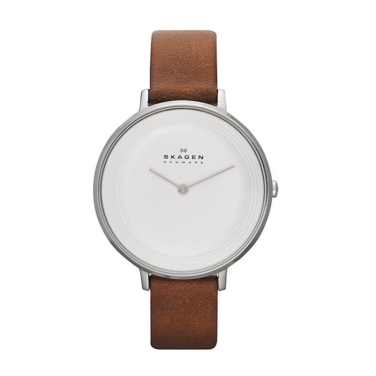 Skagen Ditte Ladies' Stainless Steel Tan Leather Strap Watch - Product number 2232219